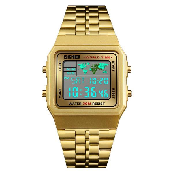 SKMEI Luxuly Herren Digital LED Uhr Gold Goldene Digitaluhren Edelstahl Top-marke Relogio Masculino Saatler Männliche Uhr 1338