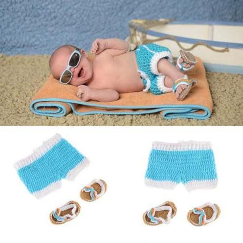 Newborn Baby Girl Boy Crochet Knit Costume Cute sunny beach pants & shoes Photo Photography Prop Outfits