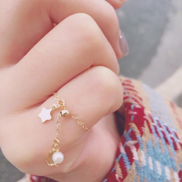 Moda Anéis Ajustáveis para As Mulheres Com 14 K Ouro Branco Pérola De água Doce Anéis Coreano Romântico Presente Para O Partido Feminino Jóias