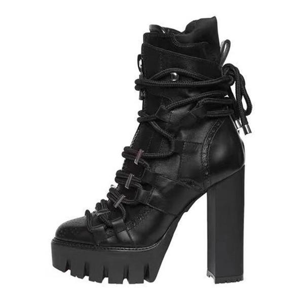 2018 New Winter Woman 12CM botas de tacón alto con cordones 2.5 CM impermeable Taiwán Chunky Heel Black tobillo botas envío gratis
