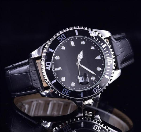 Tem logotipo relogio masculino mens relógios de pulso de luxo designer de moda calendário de marcação preto de aço de couro dobrável fecho mestre relógio masculino