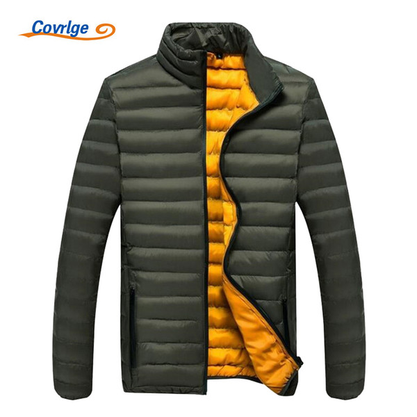 Covrlge Mens Winter Parkas Fashion Light Parka Coat 2017 New Solid Men Padded Jacket Winter Mens Overcoat Puffer Jackets MWM052