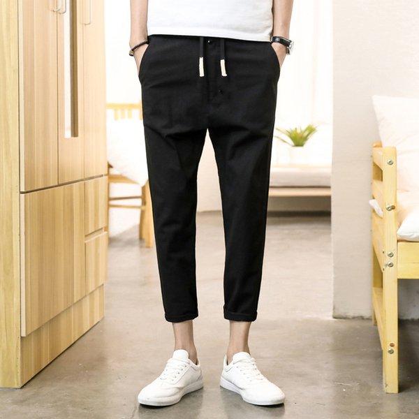 Pantalones cortos de verano para hombres Jóvenes de tendencia coreana Pantalones de pie casuales Pantalones deportivos de algodón para hombres Pantalones cómodos transpirables
