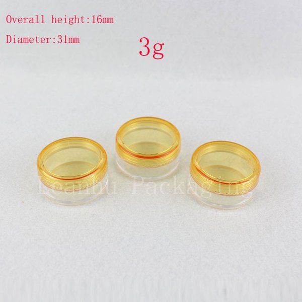 3g empty round clear cream cosmetic containers jars lip balm tins container,small sample Mini cream bottle jars yellow lids
