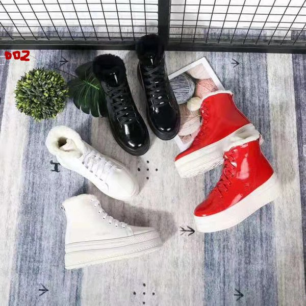 New Arrival,Hot style women girl shoes,fashion luxury designer women boots, Patent Leather, Wool inside,White, red,black,Ms Warm boots,34-39