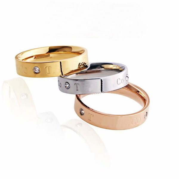 New Arrival Fashion Lady 316 Titanium Steel Setting Three Diamond Engraved Letters Wedding Engagement 18K Gold Plated Rings Size6-9