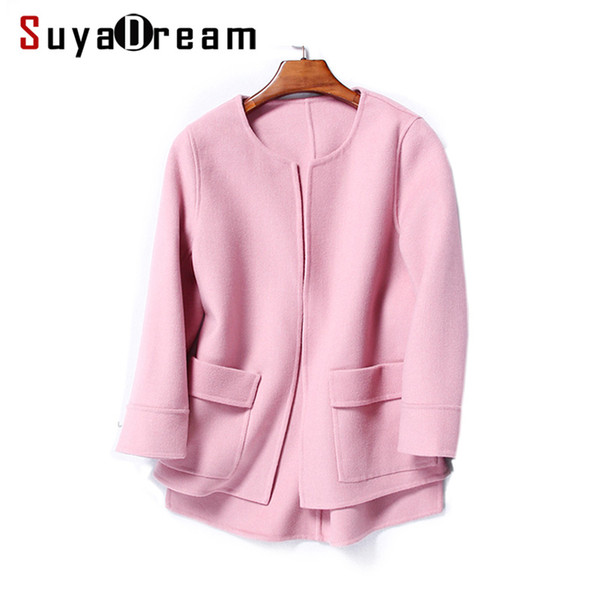 Women Wool Coat 100%Wool Short coats Two Pockets O neck Outer wear 2017 Winter RED PINK