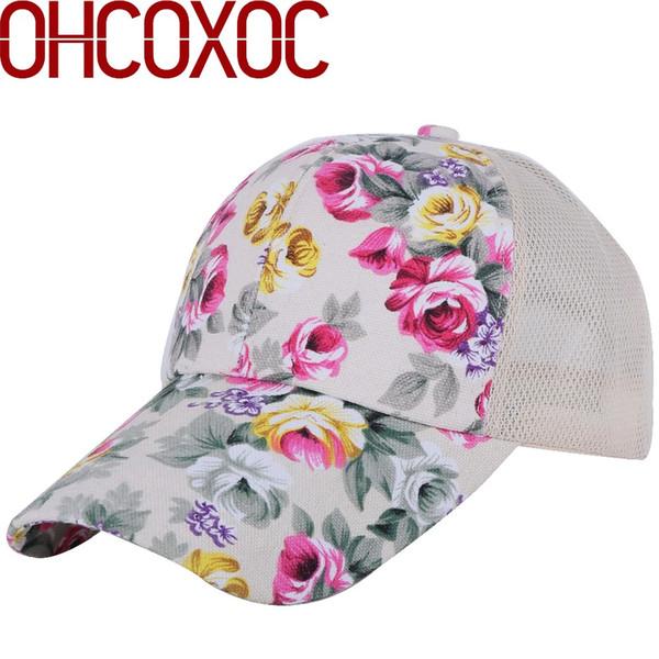 Mulheres novo verão chapéu boné floral casual Algodão com padrão de flor impressão de linho de malha estilo legal menina do sexo feminino bonito boné de beisebol