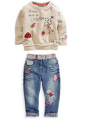 toddler Kids Baby Girls printed cartoon long sleeve Sweater and long legging Jeans pants winter Outfits Clothing Set for boys