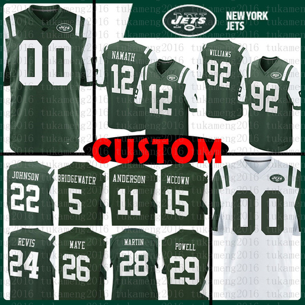 best website b1272 604fa 2018 Custom New York Jets Jersey 12 Joe Namath 92 Leonard Williams 74 Nick  Mangold 26 Marcus Maye 24 Darrelle Revis 11 Robby Anderson 81 Enunwa From  ...