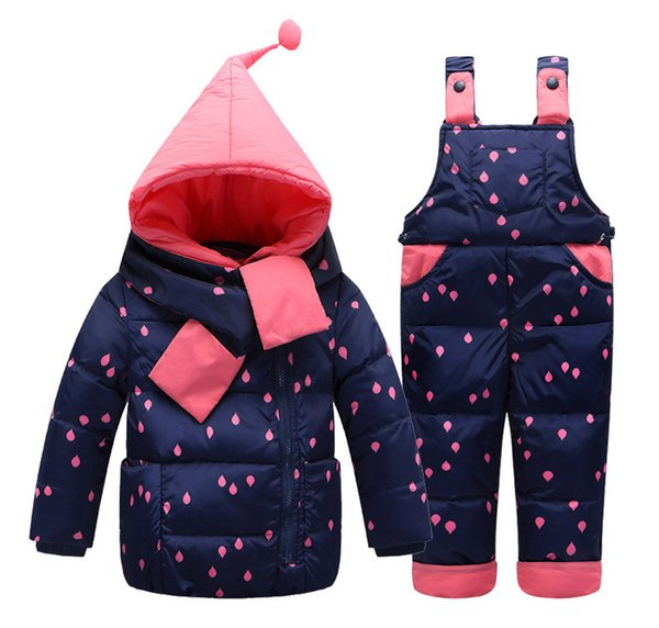 Children's kids Down Coat+Pants+Scarf/set girls snowsuit rompers trousers winter clothing three-piece ski outfit 6-36M
