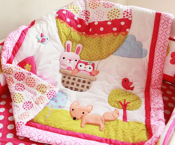 Fashion Girls Cot bedding set 7Pcs Crib bedding set Embroidery 3D Hot air balloon rabbit fox owl Baby bedding set bedskirt quilt bumper