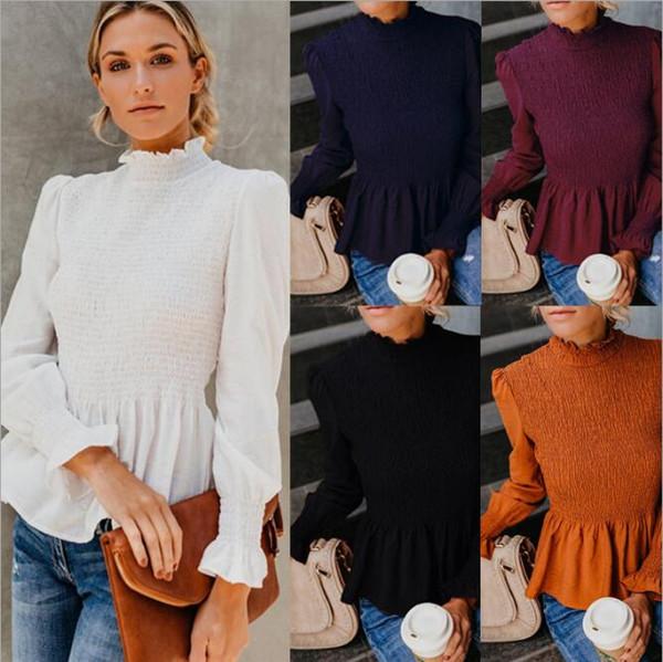 2018 otoño invierno moda mujer manga larga blusa camisas Lady Top Tees con volantes cuello pétalo mangas mujeres ropa FS5247