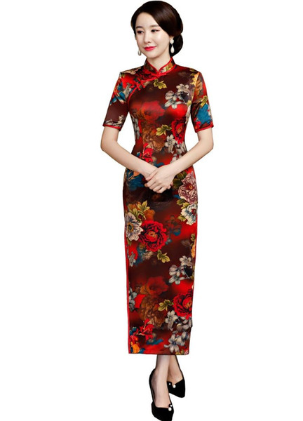 Shanghai Story Short Sleeve long Oriental Dress vintage chinese cheongsam dress Chinese Long Qipao