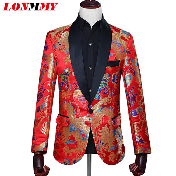 LONMMY Dragon men suits for wedding mens blazer jacket Slim fit Chinese style Casual Blazer men stage casaco masculino red 2018