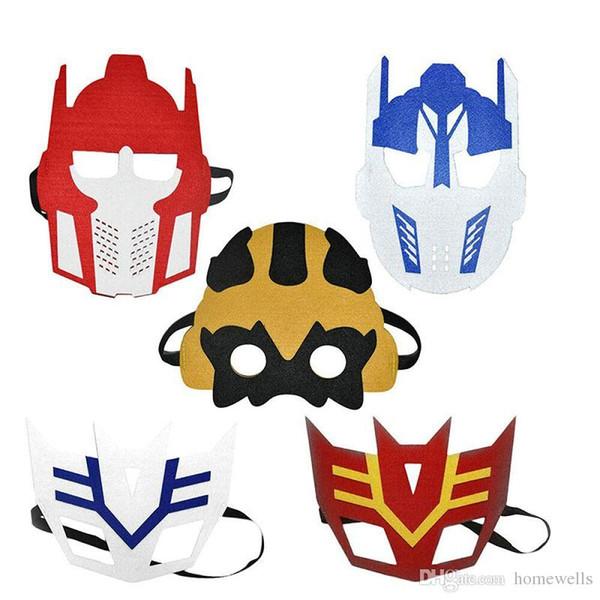 90 Design 2 Layer Halloween Cosplay Masks Half Face Felt Cloth Superhero Batman transformers Spiderman Masks Children Party Brithday Gifts