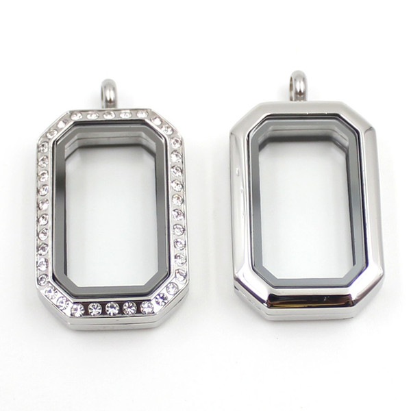 harm locket 20MM*30MM Silver Heritage flaoting charms lockets for women 316L stainless steel memory locket pendant plain face/ with cryst...