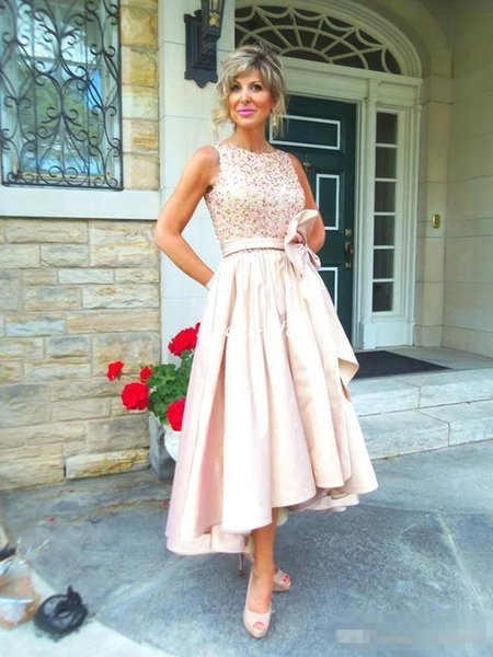 Pink Satin Mother of the Bride Dresses for Wedding Ruffles Lace Bow Bateau Cheap Hi-Lo 2018 Women Evening Dresses Formal Wears
