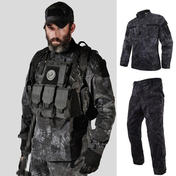 Tattico US RU Army Camouflage Uniforme da combattimento Uomo BDU Multicam Camouflage Uniforme Abbigliamento Set Airsoft Giacca Outdoor + Pantaloni