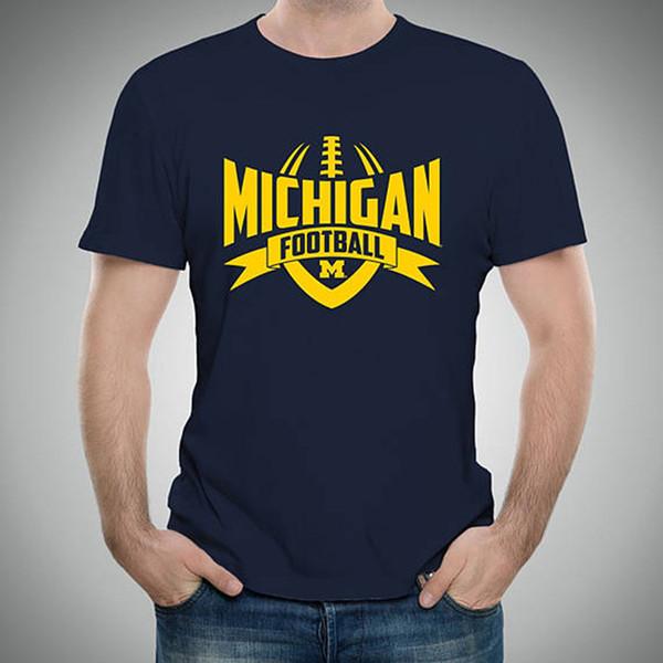 f010ef6729fba Venta al por mayor Descuento Camiseta de Ventilador Michigan Club Camiseta  Azul Marino de Manga Corta