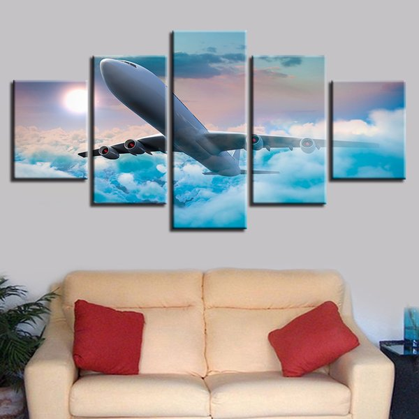 5 Pieces Plane That Penetrates The Clouds Paintings HD Prints Aircraft Poster Modular Canvas Wall Art Pictures Home Decor
