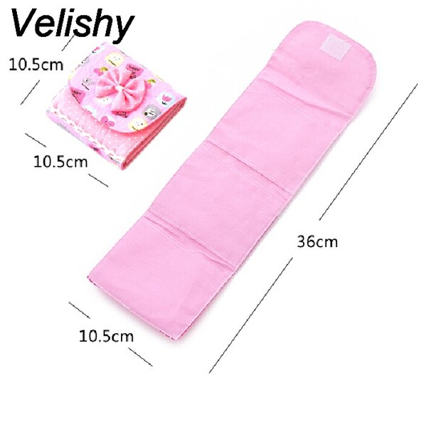 Velishy 1PC Random Color Cloth Menstrual Pads Menstrual Bowknot Cotton Sanitary Towel Napkin Pad Purse Holder Easy Bag Organizer