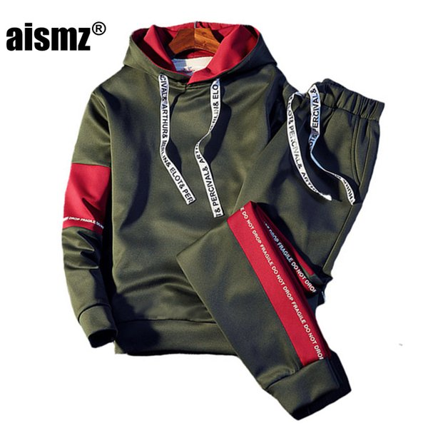 best selling Aismz Brand Tracksuit Men Quality Spring Men Sporting Hooded Hoodie+Pants Two Piece Sweat Set Jogger Track Suit For Clothes