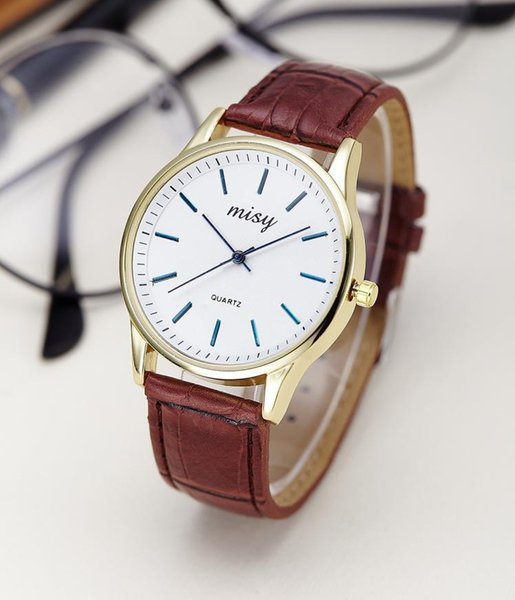 Fashion Couples Watches For Women Men Leather Strap Big Dial Quartz Watch Female Clock Personality Wrist Watches