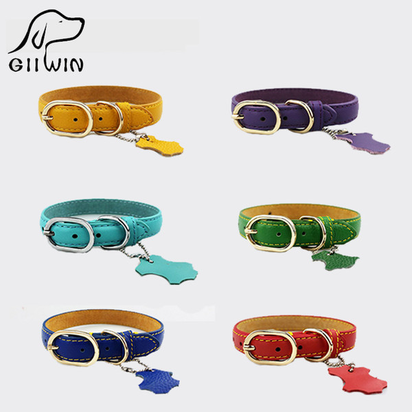 [GIIWIN]Pet Products Pet Dog Collars Leather Leash Training For Small Large Dogs Collar Leash Cat Collar Harness Dog Tag py0217