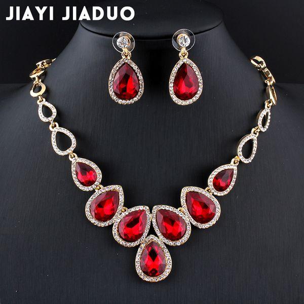 Tüm salejiayijiaduo Sıcak afrika Takı seti Altın renkli cystal kolye seti ve kadınlar için küpe Kırmızı kristal düğün takı