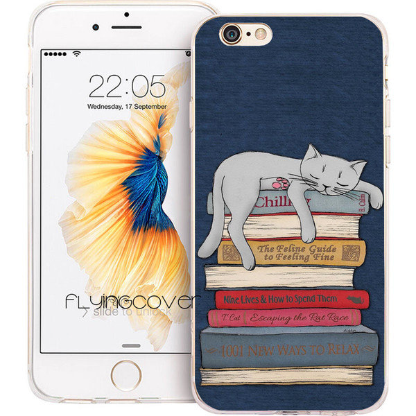Fundas Cute Cat Kitten Books Cases for iPhone 10 X 7 8 Plus 5S 5 SE 6 6S Plus 5C 4S 4 iPod Touch 6 5 Clear Soft TPU Silicone Shell Cover.