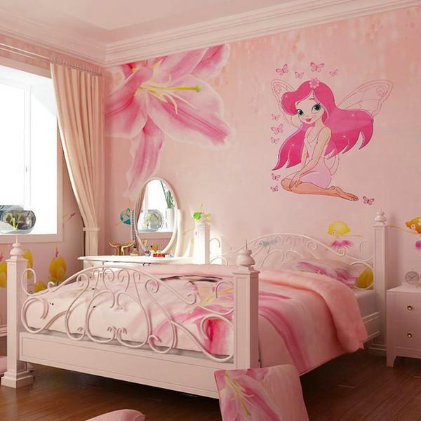 JKLONG Hermosa princesa de hadas Butterly Decals Art Mural Sticker de pared Kids Girl Room Decor Color rosa
