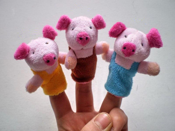 High Quality 8Pcs/Lot Three Little Pigs Finger Puppet Children Educational Fairy Tale Story Telling Plush Figer Toys Puppet