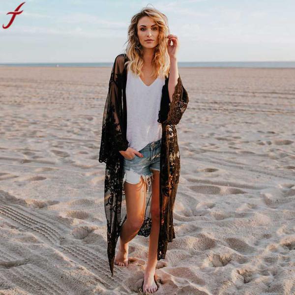 Frauen 2018 beiläufige Weinlese Boho Kimono Cardigan Spitze volle Hülsen-Bluse böhmische Strand-lange übergroße Mantel-Wolljacke mujer Oberseiten # 4