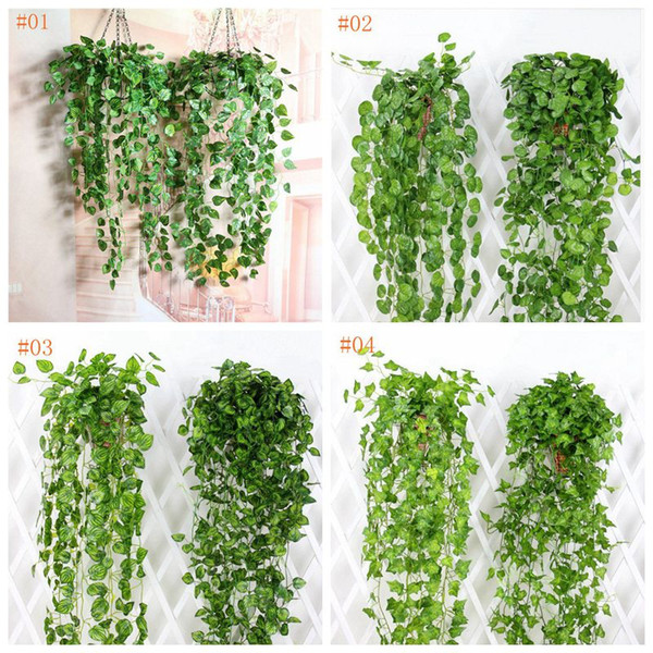 Tenture Artificielle Vigne Feuilles Real Touch Faux Feuilles Vert Plantes Jardin Décor À La Maison De Mariage Décorations Fête Fournitures AVL01-04