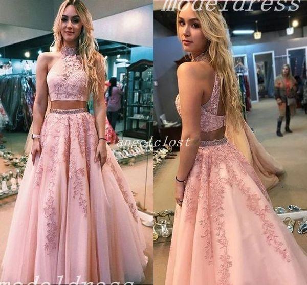 abiti da ballo Two Pieces Prom Dresses Jewel Hollow Back Floor Length Appliques Sash Beaded Long Homecoming Dress Special Occasion Dress