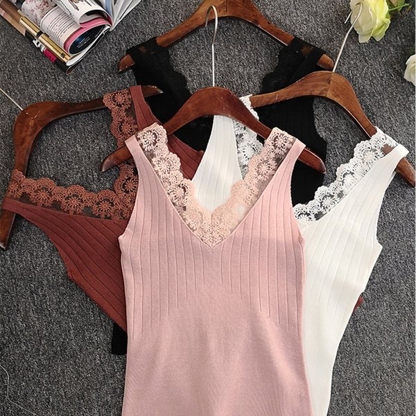 2018 Women's Knitting Tank Tops Sexy Lace Patchwork Blouse Sleeveless V Neck Top Female T-shirt Solid Color Summer Casual Tops