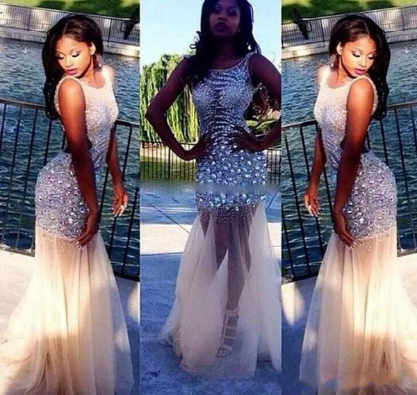 Sexy 2019 Nude Champagne Prom Dress Mermaid Sheer Neck Sleeveless Crystal Beaded Tulle Backless Sparkly Bling Party Evening Dresses