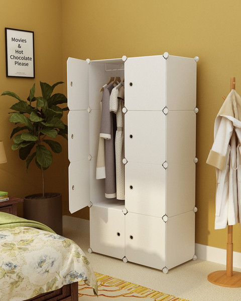 Magicial Panels Wardrobe Portable Closet for Bedroom Clothes Armoire Dresser Cubes Storage Organizer, White, 5 Cubes+1 Hanging Section