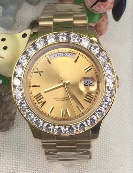 La última versión Luxury Day-Date II 18k oro amarillo para hombre de oro reloj romano 41mm grande diamante automático para hombre reloj de pulsera