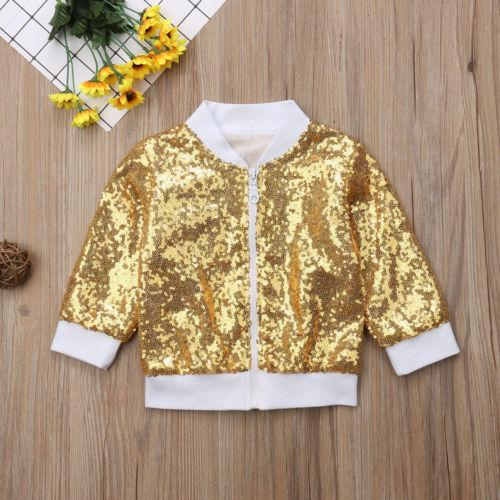 Fashion Toddler Kids Baby Girls Sequin Glitter Zipper Coat Long Sleeves Cool Girls Outerwear Jacket Clothes Outfits