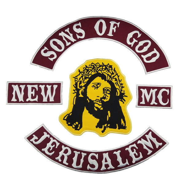 SONS OF GOD JERUSALEM MC Club Biker Vest Embroidered Patch Full Back Large Pattern For Rocker Vest Patches for clothing Free Shipping