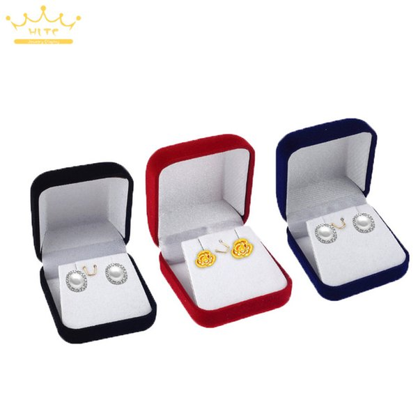 Wholesale 3 Color Stud Earring Packaging Box Velvet Display Jewelry Small Pendant Necklace Organizer Storage Case Xmas Gift Boxes