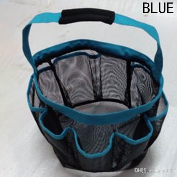 Eco Friendly With Handle Wash Bag 8 Pocket Mesh Shower Caddy Tote Plastic Folding Storage Baskets Four Colors High Quality 10 5wx aa