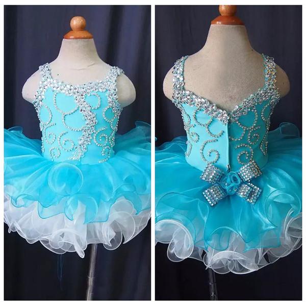 2019 Cute Spaghetti Ball Gown Blue Flower Girls Dresses Organza beads Cupcake Little Girls Pageant Dresses Kids Toddler Glitz Prom Infant