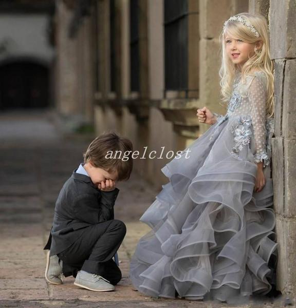 Abiti principessa delle ragazze della principessa 2018 Gioiello manica lunga Appliques Fiore 3D a file Flower Girl Dress Bambino Cosplay indossare abiti da festa di compleanno