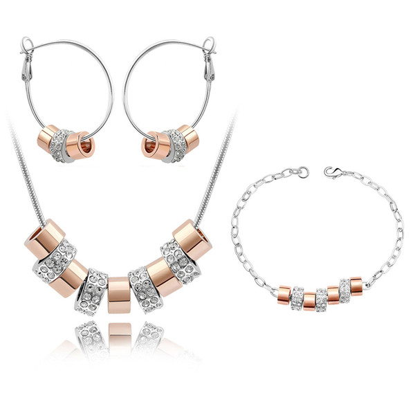 High Quality Parure Bijoux Femme Plaque or Dubai Made with Genuine Austrian Crystal Fashion Brands Jewellery Set for Women