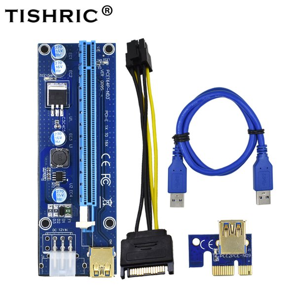Newest VER 009S PCI-E 1X to 16X LER Riser Card Extender PCI Express Adapter USB 3.0 Cable Power Supply for BTM DHL