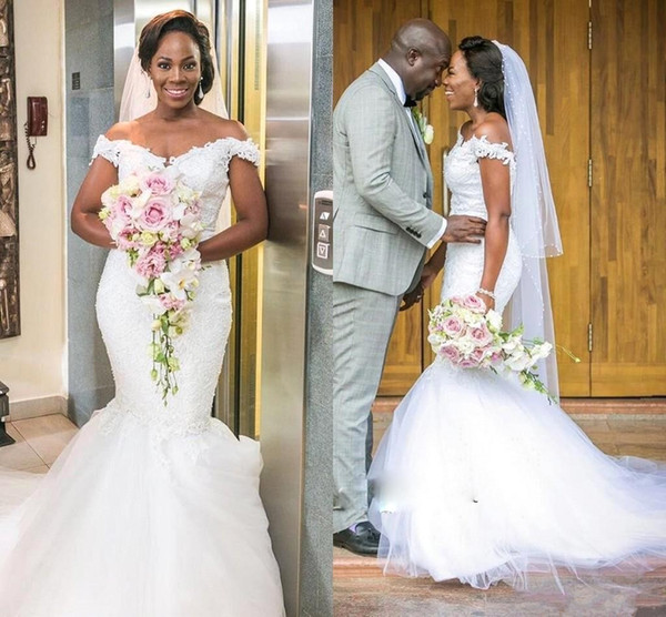 2018 Vintage African Mermaid Wedding Dresses Off Shoulder Illusion Lace Appliques Beaded Court Train Tulle Plus Size Formal Bridal Gowns