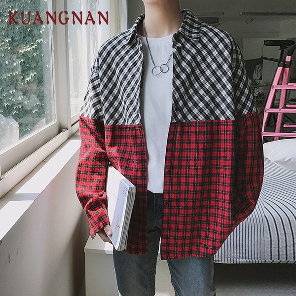 KUANGNAN Streetwear Red Plaid Mens Shirts Casual Slim Fit Mens Shirts Long Sleeve High Quality Men Plaid Shirt Man 2018 Autumn